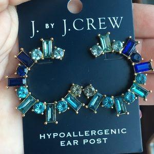 J.Crew CRYSTAL WRAP HOOP EARRINGS SEACOAST NWT
